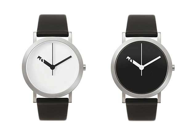 シンプルな腕時計、白、黒シンプルな腕時計