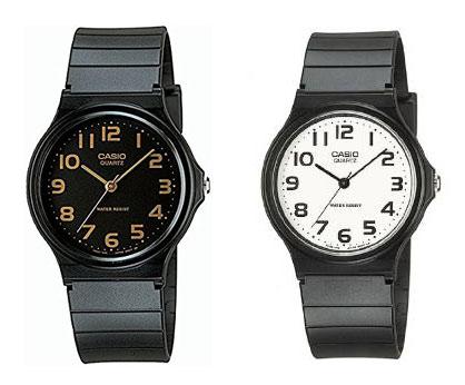 チープカシオのペアウォッチ、ブラックとホワイト針の時計
