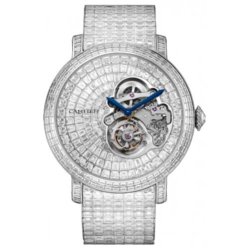 カルティエの時計で一番高い高級時計。ダイヤモンド、世界で10本限定ロトンド ドゥ カルティエ フライング トゥールビヨン リザーブド ダイアル ウォッチ