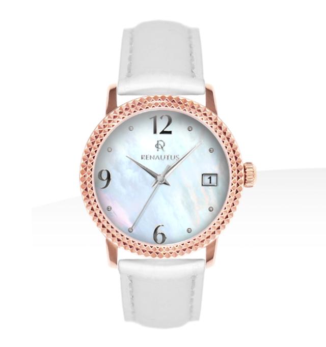 ルノータスの時計レディース、パール、ホワイト