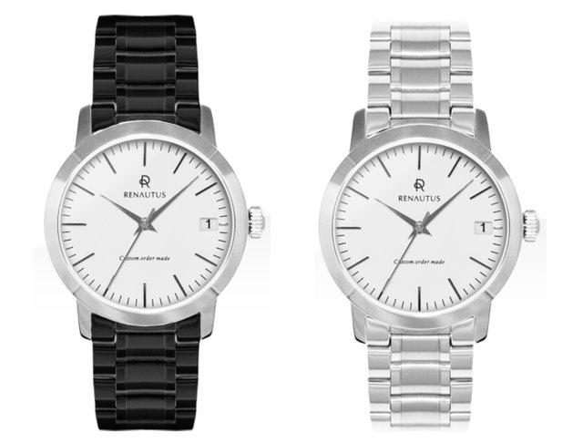 ルノータスの時計メタルベルト黒と白