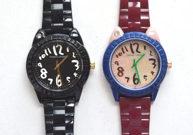 ツモリチサトの時計ビックキャット黒と紫