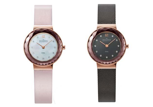 スカーゲンのレディースにお勧めパールを使ったピンク時計