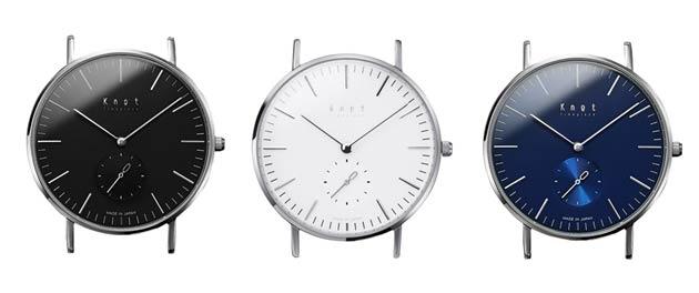 ノットの時計黒と白と青
