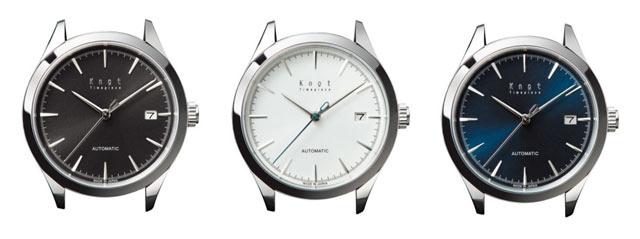 ノットの機械式時計、白と黒と青