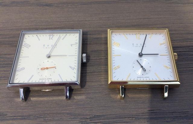 ノットの時計スクエアのゴールドとシルバー