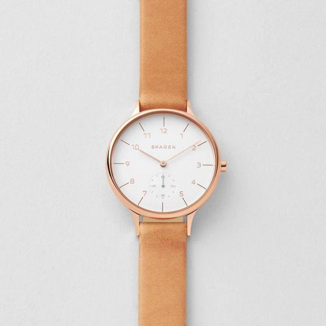スカーゲンのレディースAnita Sub-Eye Leather Watch