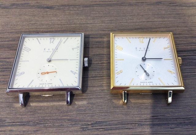 ノットのスクエアの時計ゴールドとシルバー