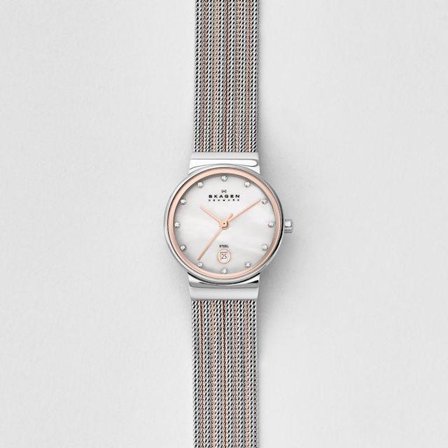 スカーゲンのアンカーレディース、ピンクゴールドの時計