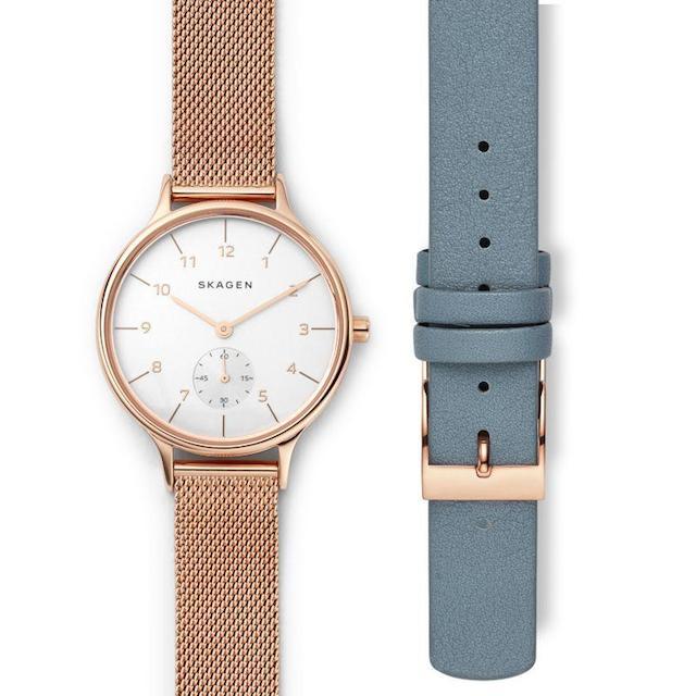 スカーゲンのピンクゴールドのベルトが付いてくる時計SKW1103