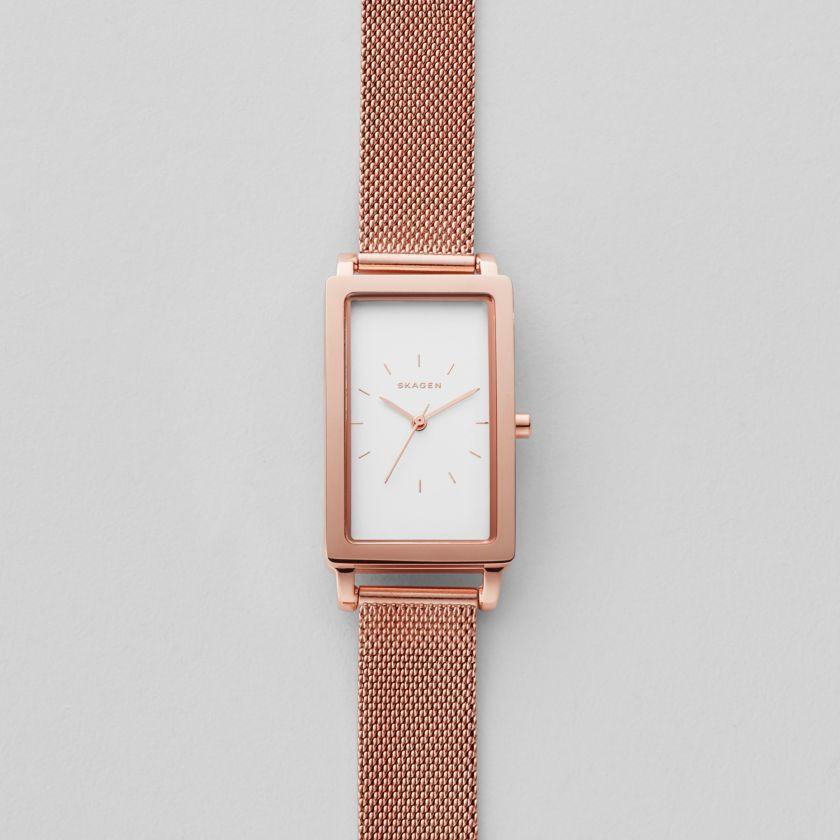 スカーゲンのピンクゴールドで長方形の時計SKW2466レクタングラー
