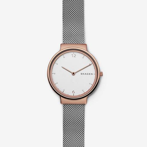 スカーゲンのシルバーとピンクゴールドのレディース時計Ancher(アンカー)SKW2616