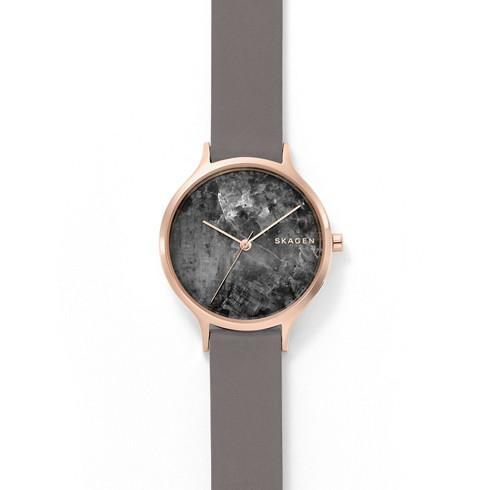 スカーゲンのアニタシーズ大理石を使ったピンクゴールドの時計