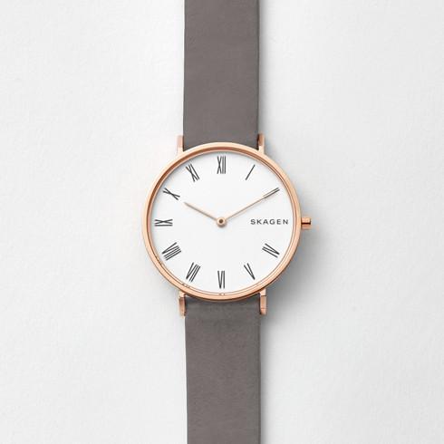 スカーゲンのローマ数字のピンクゴールドの時計Slim Haldスリムホールド SKW2674