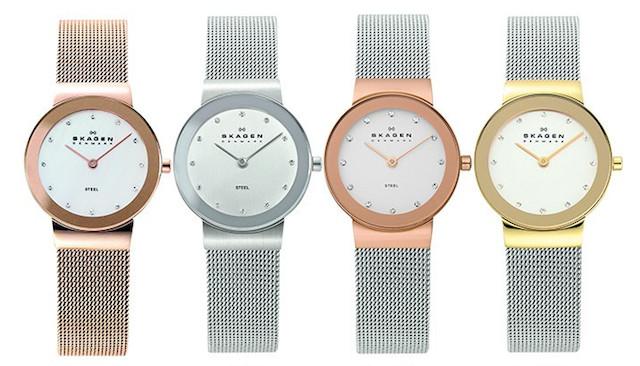 スカーゲンの華奢なメッシュベルトの時計