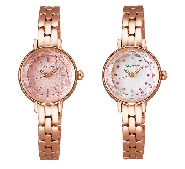 ジルスチュアートのカットガラスのピンクゴールドの時計