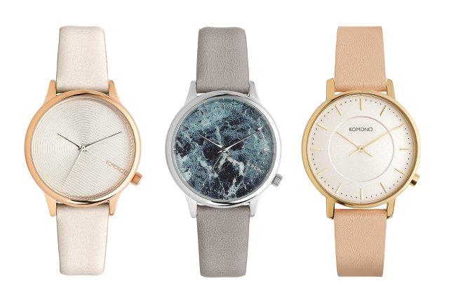 コモノのレディース時計、白、グレー、ベージュの3種類