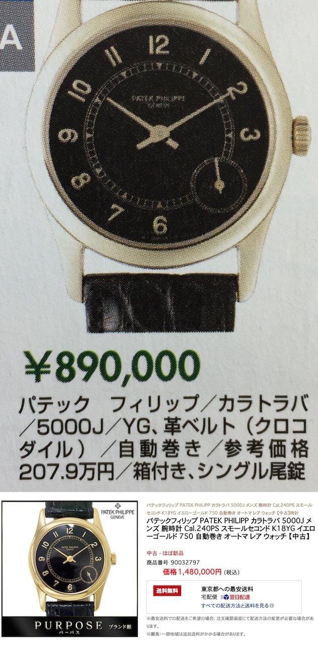 パッテクフィッリプ カラトラバ5000J