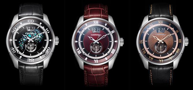 シチズンの機械式時計カンパノラ、青、赤、茶