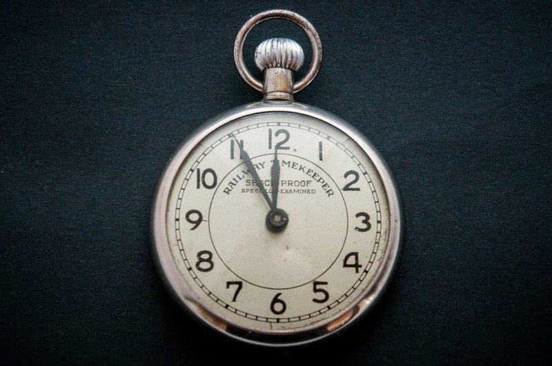 手巻き式のアンティーク懐中時計