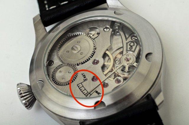 手巻き時計のムーブメント、パーワーリザーブ