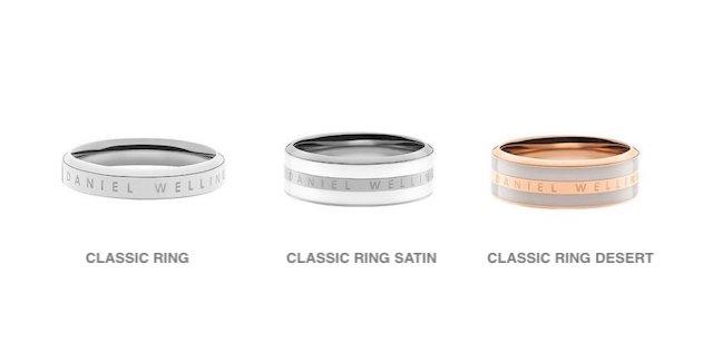 ダニエルウェリントンの3種類の指輪リング