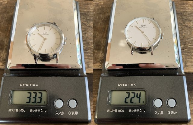 ダニエルウェリントンのアイコニックとクラシックの重さ比較
